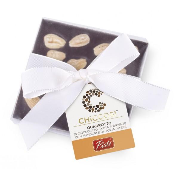 Pistì - Cioccolato Quadrotto - Cioccolato Fondente con Mandorle Intere - Fine Pasticceria Incartata a Mano