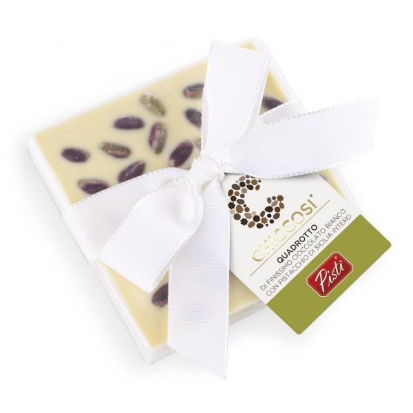 Pistì - Cioccolato Quadrotto - Cioccolato Bianco con Pistacchi Interi - Fine Pasticceria Incartata a Mano
