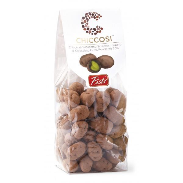 Pistì - Chiccosi - Chicci di Pistaccio Ricoperti di Cioccolato Extra Fondente - Fine Pasticceria Incartata a Mano