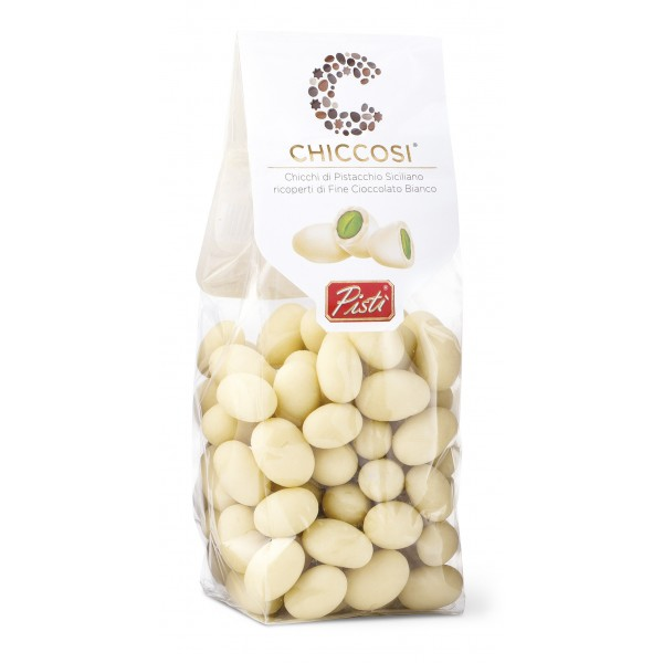 Pistì - Chiccosi - Pistachio Beans Covered with White Chocolate - Fine Pastry Hand Wrapped