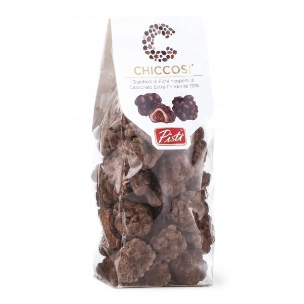 Pistì - Chiccosi - Chicci di Fichi Secchi Ricoperti di Cioccolato Extra Fondente - Fine Pasticceria Incartata a Mano