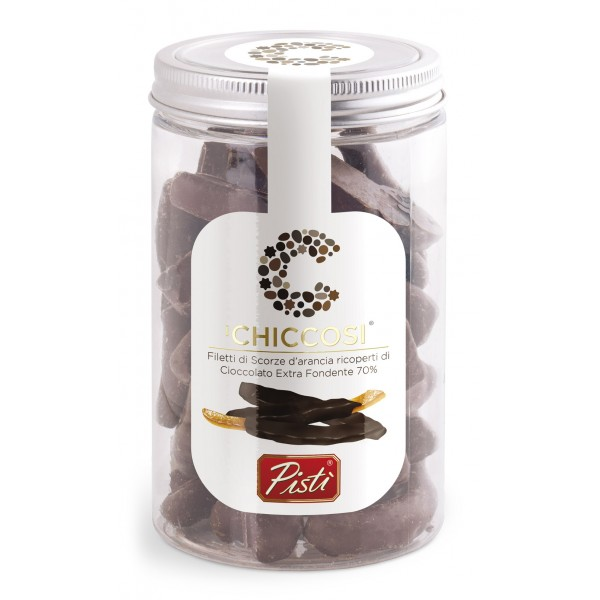 Pistì - Chiccosi - Candied Orange Peel and Dark Chocolate Coating - Fine Pastry in Jar