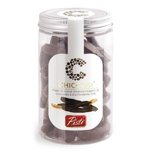 Pistì - Chiccosi - Scorze di Arancia Candita e Ricoperta di Cioccolato Fondente - Fine Pasticceria in Vaso