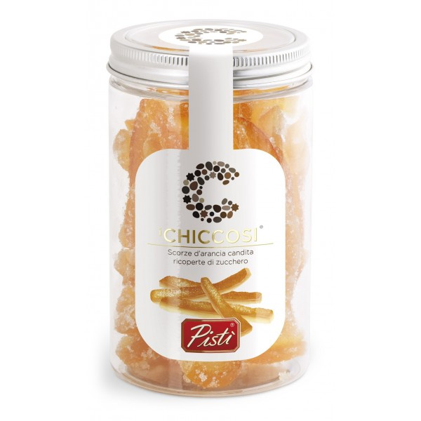 Pistì - Chiccosi - Scorze di Arancia Candita e Ricoperta di Granella di Zucchero - Fine Pasticceria in Vaso