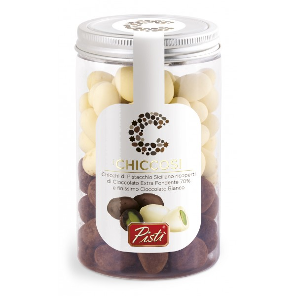 Pistì - Chiccosi Mix - Sicilian Pistachio Beans Covered with Chocolate - Fine Pastry in Jar