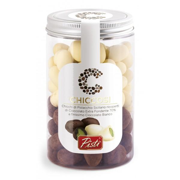 Pistì - Chiccosi Mix - Chicchi di Pistacchio di Sicilia Ricoperti di Cioccolato - Fine Pasticceria in Vaso