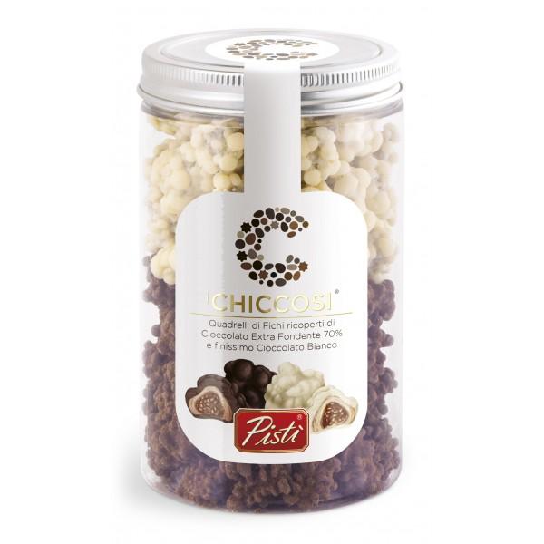 Pistì - Chiccosi Mix - Quadrelli Sicilian Figs Beans Covered with Chocolate - Fine Pastry in Jar