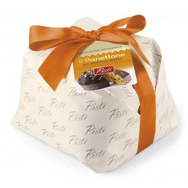 Pistì - Panettone Artigianale all'Arancia Rossa Ricoperto di Cioccolato Fondente 70% - Panettone Artigianale Incartato a Mano