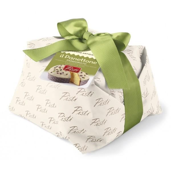 Pistì - Panettone Artigianale Pandorato Ricoperto di Cioccolato Bianco e Pistacchio - Panettone Artigianale Incartato a Mano