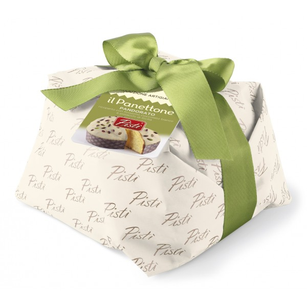 Pistì - Panettone Artigianale Pandorato Ricoperto di Cioccolato Bianco e Pistacchio - Panettone Incartato a Mano - 1000 g