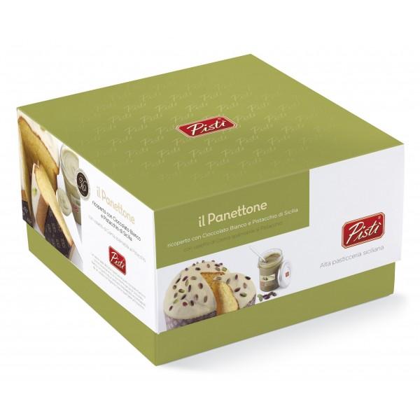 Pistì - Panettone Artigianale Pandorato Ricoperto di Cioccolato Bianco e Crema Pistacchio - Scatola Regalo