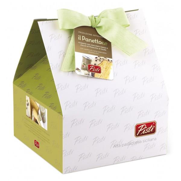 Pistì - Panettone Artigianale Pandorato Ricoperto di Cioccolato Bianco e Crema Pistacchio - Shopper Regalo