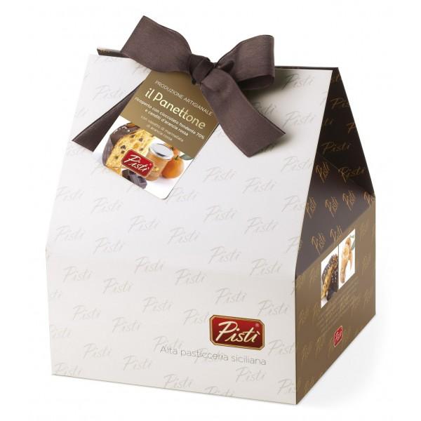 Pistì - Panettone Artigianale all'Arancia Rossa Ricoperto di Cioccolato Fondente 70% + Marmellata di Arancia - Shopper Regalo