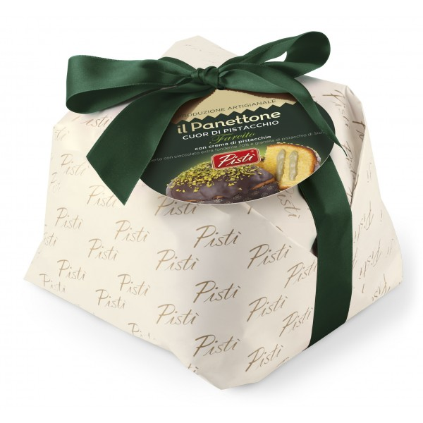 Pistì - Artisan Panettone Heart of Pistachio with Pistachio Cream and Extra Dark Chocolate - Hand Wrapped Panettone