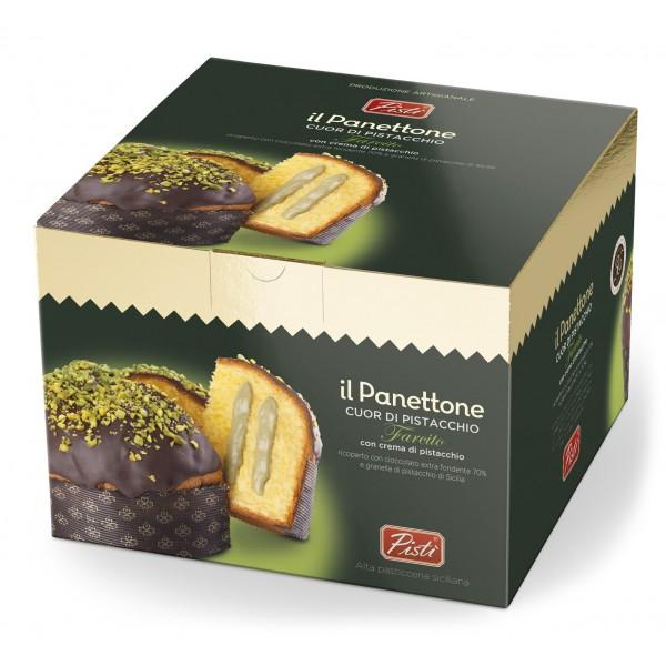 Pistì - Panettone Artigianale Cuor di Pistacchio con Crema al Pistacchio e Cioccolato Fondente - Panettone in Scatola Regalo