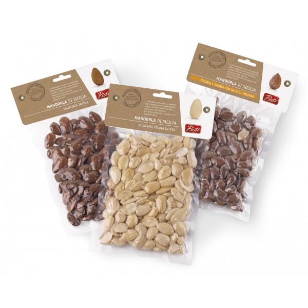 Pistì - Mandorla di Sicilia Tostata Salata - Bronte Sicilia - Frutta Secca Artigianale - Busta Sottovuoto