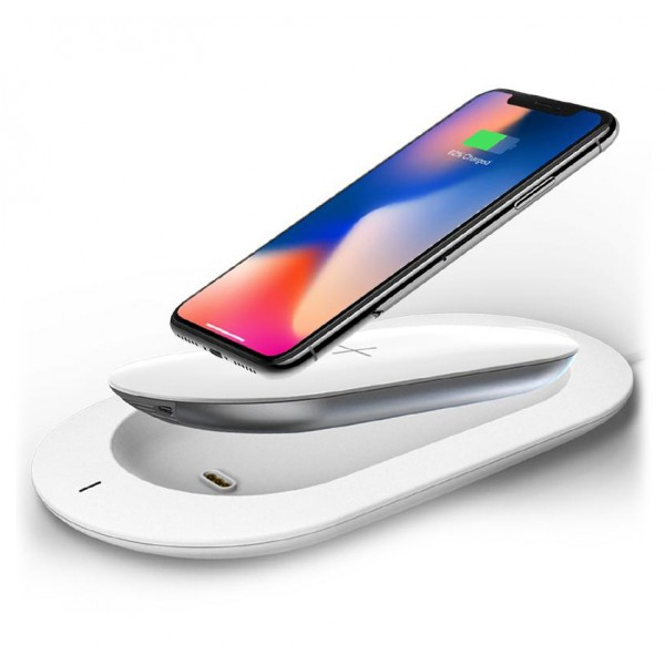 MiPow - Power Cube X - Bianco - Batteria Portatile Wireless - Caricabatterie per Dispositivi Apple e Samsung - 5000 mAh
