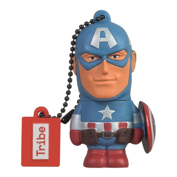 Tribe - Captain America - Marvel - Chiavetta di Memoria USB 16 GB - Pendrive - Archiviazione Dati - Flash Drive