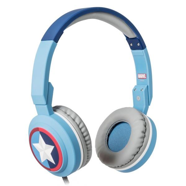 Tribe - Captain America - Marvel - Cuffie con Microfono Pieghevoli - Jack 3,5 mm - Smartphone, PC, PS4 e Xbox