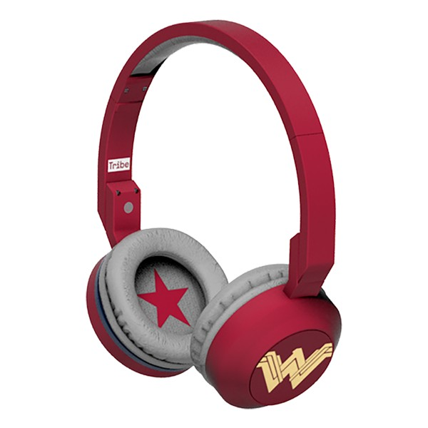 Tribe - Wonder Woman - DC Comics - Cuffie con Microfono Pieghevoli - Jack 3,5 mm - Smartphone, PC, PS4 e Xbox