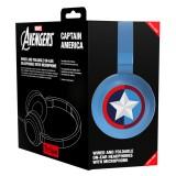 Tribe - Captain America - Marvel - Episodio VII - Cuffie con Microfono Pieghevoli - Jack 3,5 mm - Smartphone, PC, PS4 e Xbox