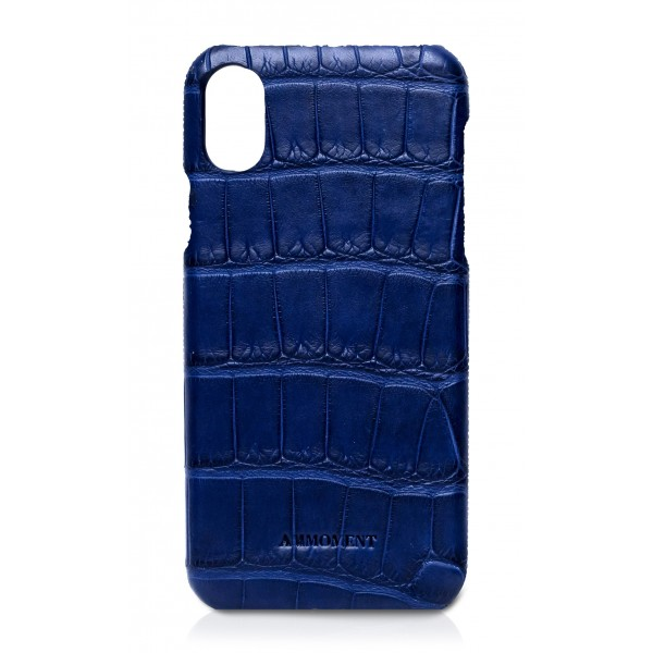 Ammoment - Coccodrillo Marino in Navy - Cover in Pelle - iPhone X