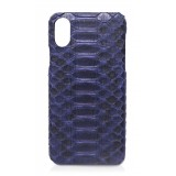Ammoment - Pitone in Navy - Cover in Pelle - iPhone X