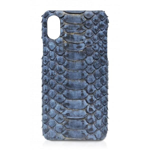 Ammoment - Pitone in Moxi Nero - Cover in Pelle - iPhone X