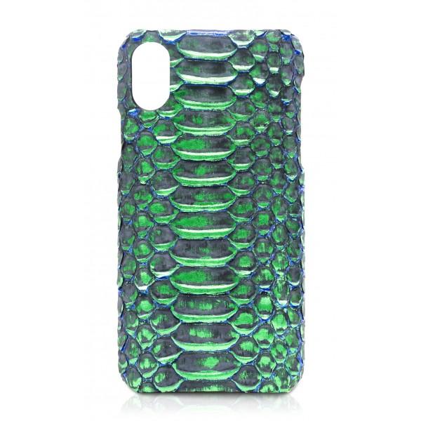 Ammoment - Pitone in Verde Crocus Metallico - Cover in Pelle - iPhone X