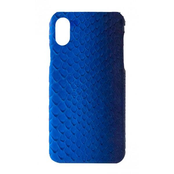 Ammoment - Pitone in Blu Petalo - Cover in Pelle - iPhone X