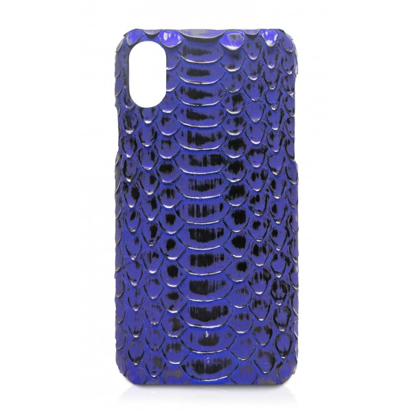 Ammoment - Pitone in Blu NYX Metallico - Cover in Pelle - iPhone X