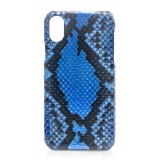 Ammoment - Pitone in Alien Blu - Cover in Pelle - iPhone X