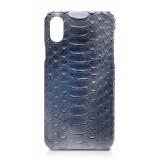 Ammoment - Pitone in Blu Calce - Cover in Pelle - iPhone X