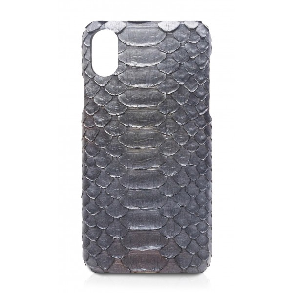 Ammoment - Pitone in Grigio Calce - Cover in Pelle - iPhone X