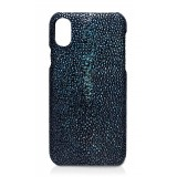 Ammoment - Razza in Glitter Metallizzato Verde - Cover in Pelle - iPhone X