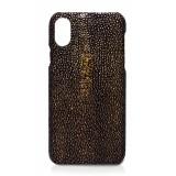 Ammoment - Razza in Glitter Metallizzato Marrone - Cover in Pelle - iPhone X