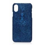 Ammoment - Razza in Glitter Metallizzato Blu - Cover in Pelle - iPhone X