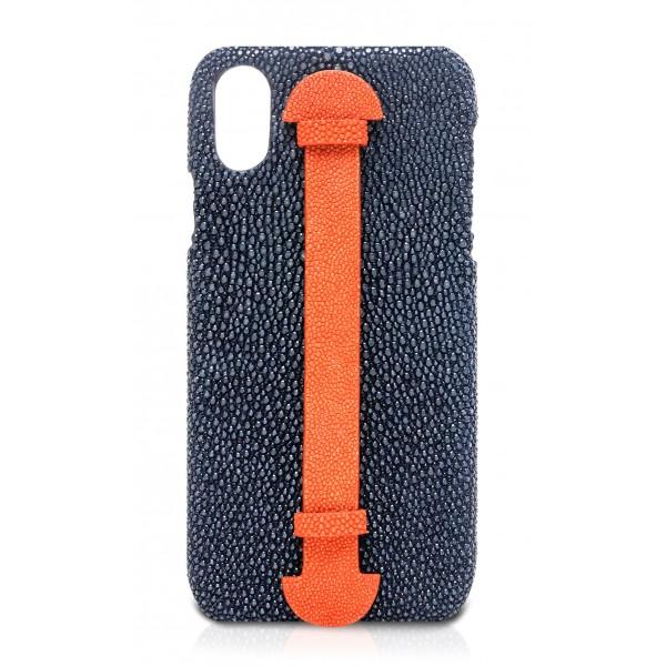 Ammoment - Razza in Navy e Arancione - Cover in Pelle con Supporto per le Dita - Finger Cover - iPhone X