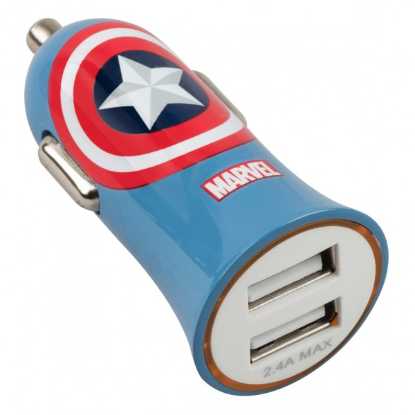 Tribe - Captain America - Marvel - Caricatore da Auto Doppio - Fast Car Charger - Caricatore USB - iPhone, iPad, Tablet, Samsung