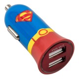 Tribe - Superman - Uomo d'Acciaio - DC Comics - Caricatore da Auto Doppio - Fast Car Charger - Caricatore USB - iPhone, iPad