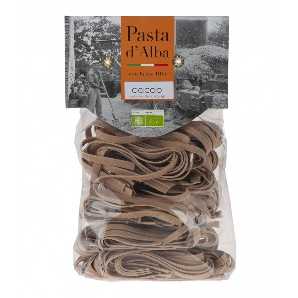 Pasta d'Alba - Tagliatelle al Cacao Bio - Linea Artigianale - Pasta Italiana Biologica Artigianale