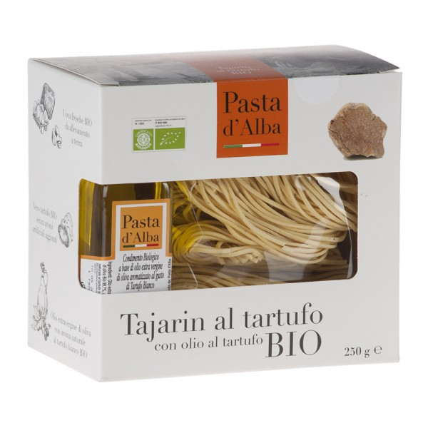 Pasta d'Alba - Tajarin al Tartufo Bio con Olio di Oliva al Tartufo Bianco - Linea Territorio - Pasta Italiana Biologica