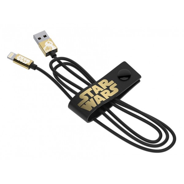 Tribe - BB-8 Gold - Star Wars - Cavo Lightning USB - Trasmissione Dati e Ricarica per Apple iPhone - Certificato MFi - 120 cm