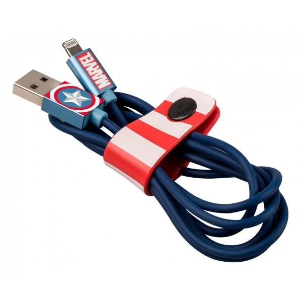 Tribe - Captain America - Marvel - Cavo Lightning USB - Trasmissione Dati e Ricarica per Apple iPhone - Certificato MFi - 120 cm