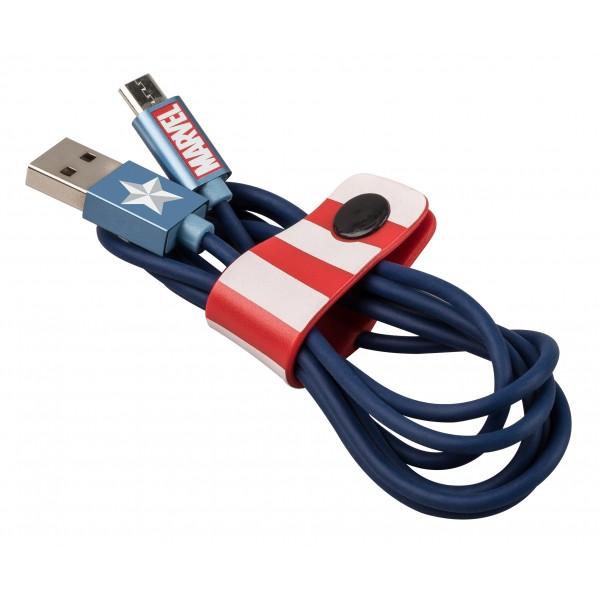 Tribe - Capitan America - Marvel - Cavo Micro USB - Trasmissione Dati e Ricarica per Android, Samsung, HTC, Nokia, Sony - 120 cm