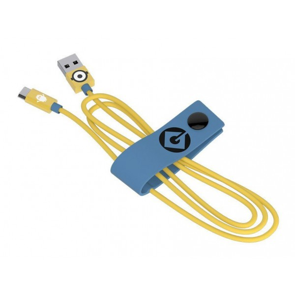 Tribe - Carl - Minions - Micro USB Cable - Data Transmission and Charging  for Android, Samsung, HTC, Nokia, Sony - 120 cm
