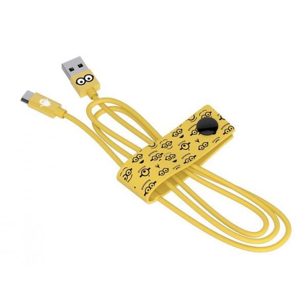 Tribe - Tom - Minions - Cavo Micro USB - Trasmissione Dati e Ricarica per Android, Samsung, HTC, Nokia, Sony - 120 cm