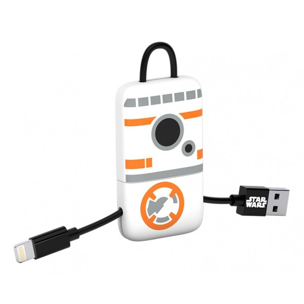 Tribe - BB-8 - Star Wars - Cavo Lightning USB - Portachiavi - Dati e Ricarica per Apple iPhone - Certificato MFi - 22 cm