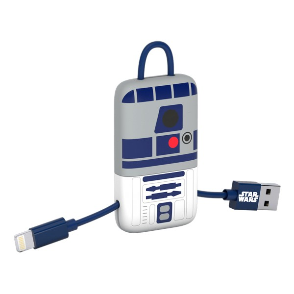 Tribe - RD-D2 - Star Wars - Cavo Lightning USB - Portachiavi - Dati e Ricarica per Apple iPhone - Certificato MFi - 22 cm