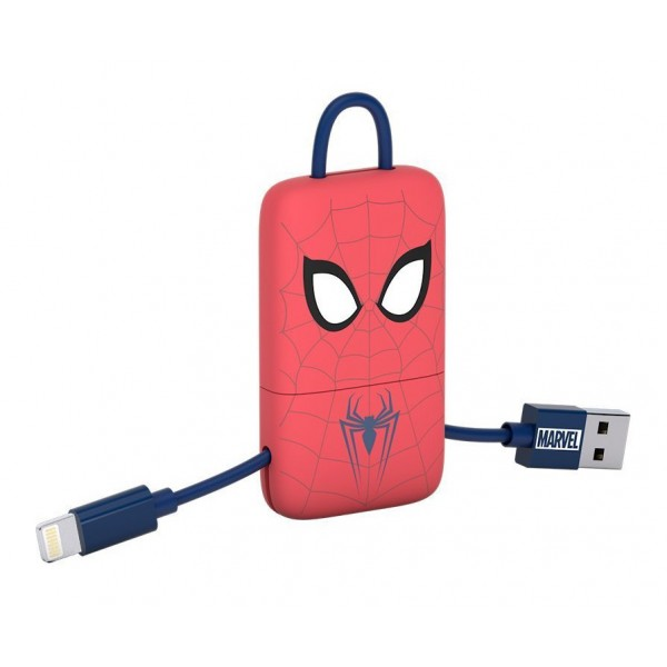 Tribe - Spider-Man - Marvel - Cavo Lightning USB - Portachiavi - Dati e Ricarica per Apple iPhone - Certificato MFi - 22 cm
